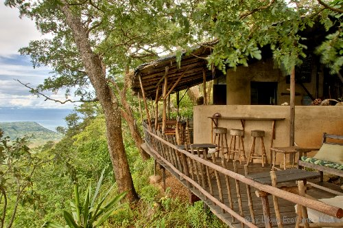 The deck at Lukwe EcoCamp Malawi